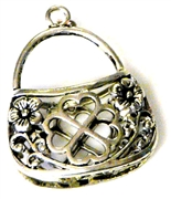 2pc antique silver filigree handbag charm