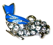 1pc silver plated enamel rhinestone bird charm blue