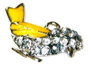 1pc silver plated enamel rhinestone bird charm yellow