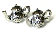 4pc antique silver 3d teapot charms