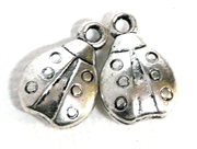 4pc antique silver ladybug charm 15x8mm