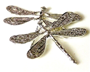 1pc large silver plated filigree dragonflies 45x35mm