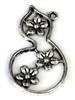 2pc antique silver flower drop swirl