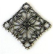 1pc antique silver charm filigree diamond 20x20mm