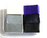 6pc clay assortment packet black, purple & grey