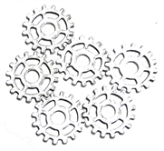 6pc antique silver cog part charms open spoked 25mm