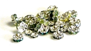 10pc rhinestone rondelle mix green silver plated 6-8mm