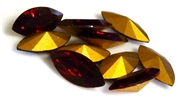 2pc swarovski crystal navette garnet red 15x7mm