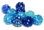 4pc 8mm rhinestone acrylic rounds blue mix