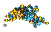 40pc 2 mm rhinestone point back crystals light teal