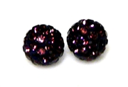 1pc 6mm rhinestone clay round amethyst purple