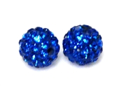 1pc 6mm rhinestone clay round capri blue