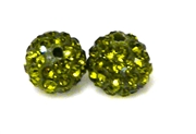 1pc 6mm rhinestone clay round olivine green