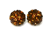 1pc 6mm rhinestone clay round smokey topaz