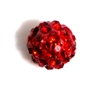 1pc 8mm rhinestone clay round siam red