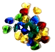 6pc crystal heart drops yellow blue mix 10mm
