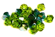 6pc crystal bicones green mix 8mm