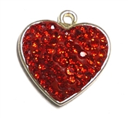 1pc crystal pave charm silver plated Red Heart