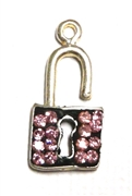 1pc crystal pave charm silver plated Lock Pink