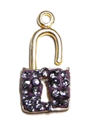 1pc crystal pave charm silver plated Lock Tanzanite