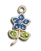1pc crystal pave charm silver plated Blue Flower