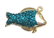 1pc crystal pave charm silver plated Teal Fish