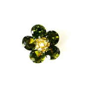 1pc cubic zirconia flowers olive15mm