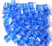 10pc Faceted Crystal Cubes Sapphire Blue 6mm