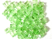 10pc Faceted Crystal Cubes Peridot Green 6mm