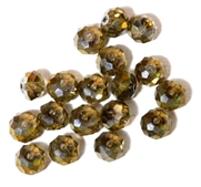 6pc crystal donut Smoke Topaz Lustre 8mm