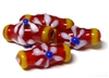 1pc indian glass Red & Yellow Flower Tube 14x4mm