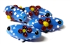 1pc indian glass Dotted Flower Ovals Blue 23x6mm