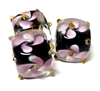 1pc indian glass Pink Flower Cube 10mm