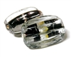 1pc indian glass Clear Lined Black Oval 21x13mm