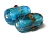 1pc indian glass Blue Flower Tube 20x9mm