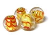 1pc indian glass Yellow & Orange Lined Round 10mm