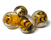 1pc indian glass orange lined black round 10mm