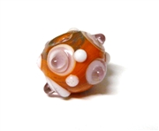 1pc indian glass Orange Dotted Round 8mm