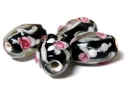 1pc indian glass Black Pink Flower Ovals 12x5mm