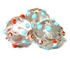 1pc indian glass Blue Dotted Round 15mm