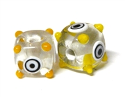 1pc indian glass Yellow Dotted Cube 10mm