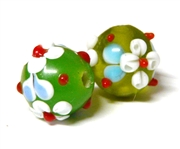 1pc indian glass Green Flower Round 8mm