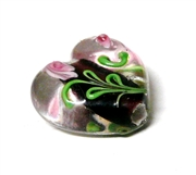 1pc indian glass Black Flower Heart 14x10mm