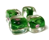 1pc indian glass Green Clear Flower Cube 10mm