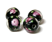 1pc indian glass Black Flower Round 8mm