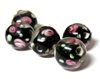 1pc indian glass Black Flower Round 10mm