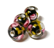 1pc indian glass Black Yellow Flower Round 6mm