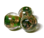 1pc indian glass Copper Green Rounds 8mm