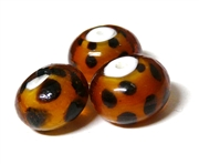 1pc indian glass Topaz Dots Round 6mm