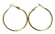1pr solid earring hoops gold plated 60mm width